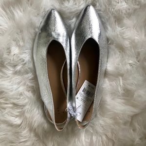 Silver Slingback Flats - New With Tags